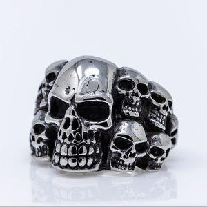 Cluster of Skulls Biker Ring